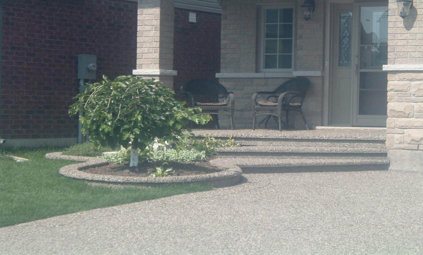 Retaining walls and flower beds